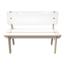 Wit houten bankje voor kinderen   IKC kindermeubels